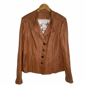 Crisca Women's Tan Leather Jacket Size 12